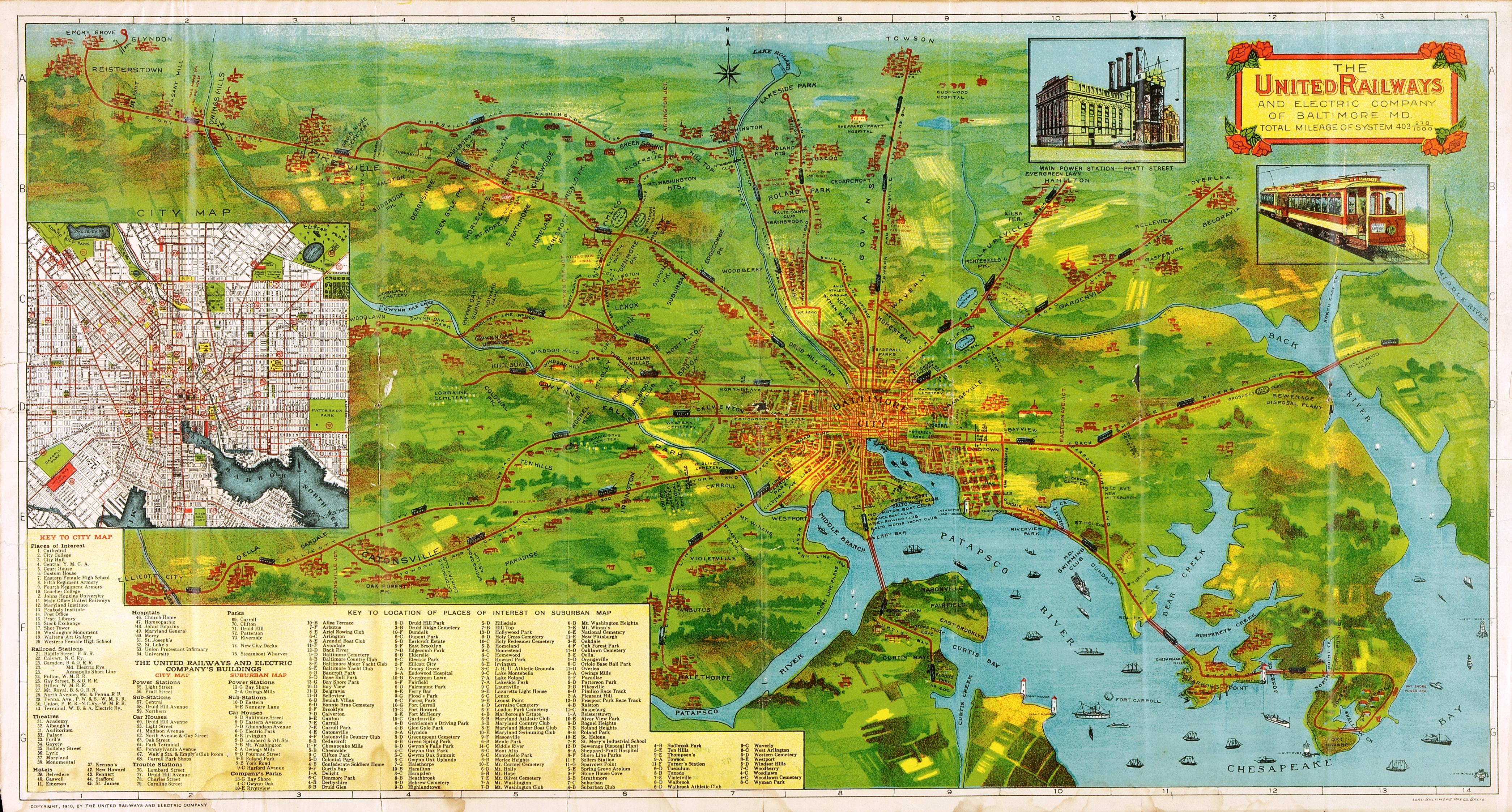 Trolley Map of Baltimore]: The United Railways and Electric Company ...