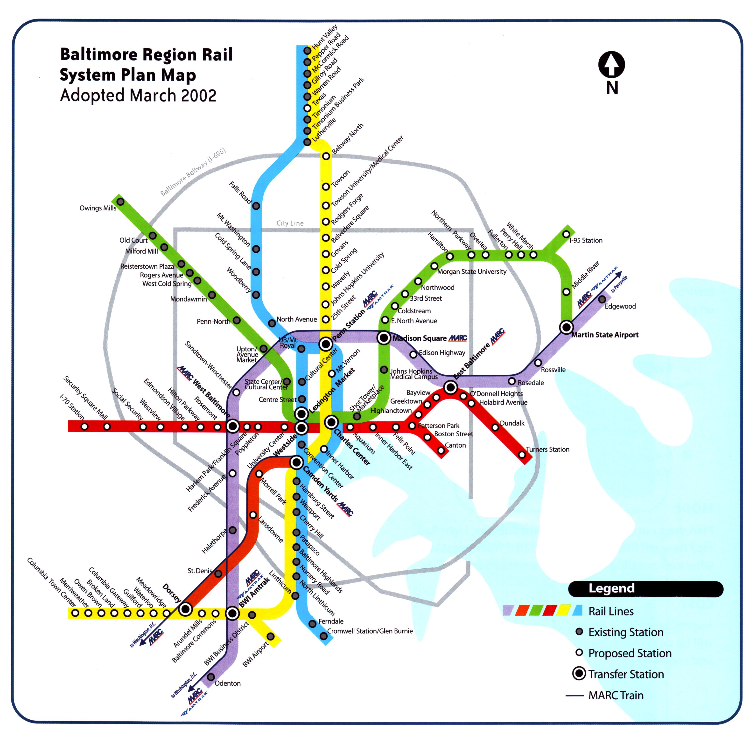 baltimore region rail system plan map adopted march 2002 Baltimore Transit Map baltimore region rail system plan map jpg (752 4kb) baltimore transit map