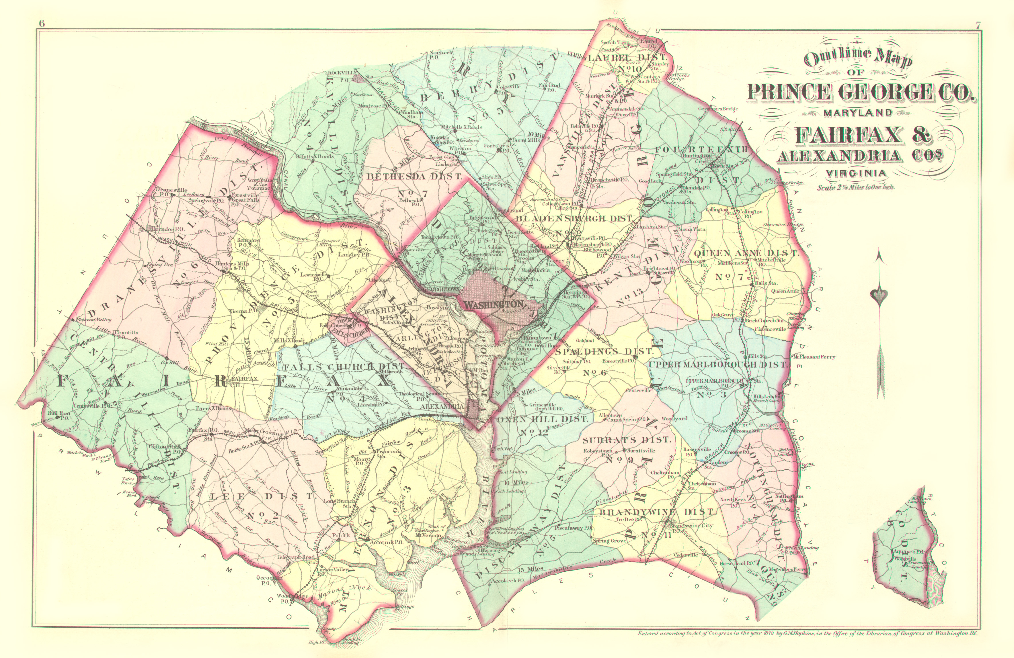 Prince George Map PRINCE GEORGE'S CO.] Atlas of Fifteen Miles Around Washington