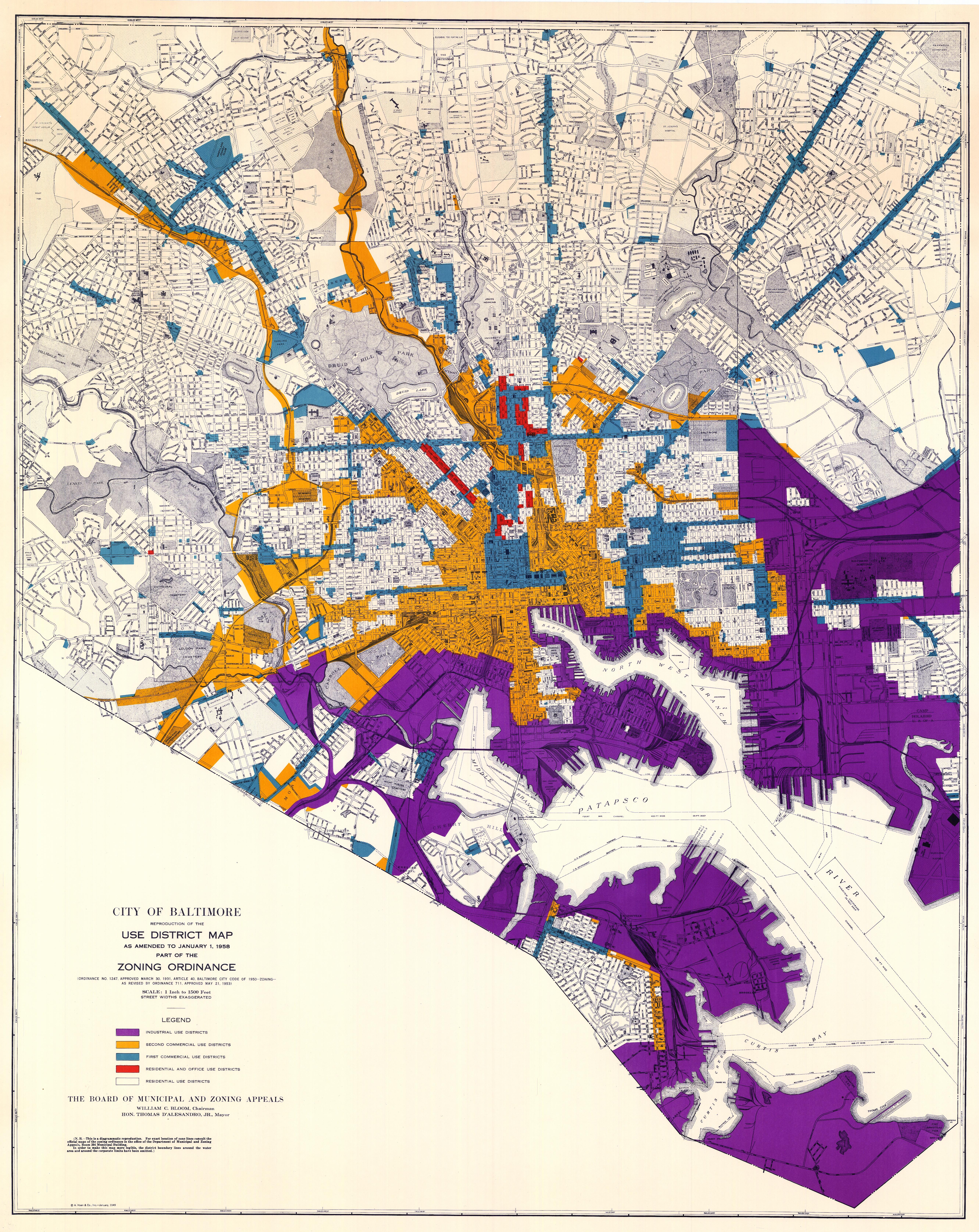 Baltimore Zoning Map City of Baltimore, Reproduction of the Use District Map as Amended