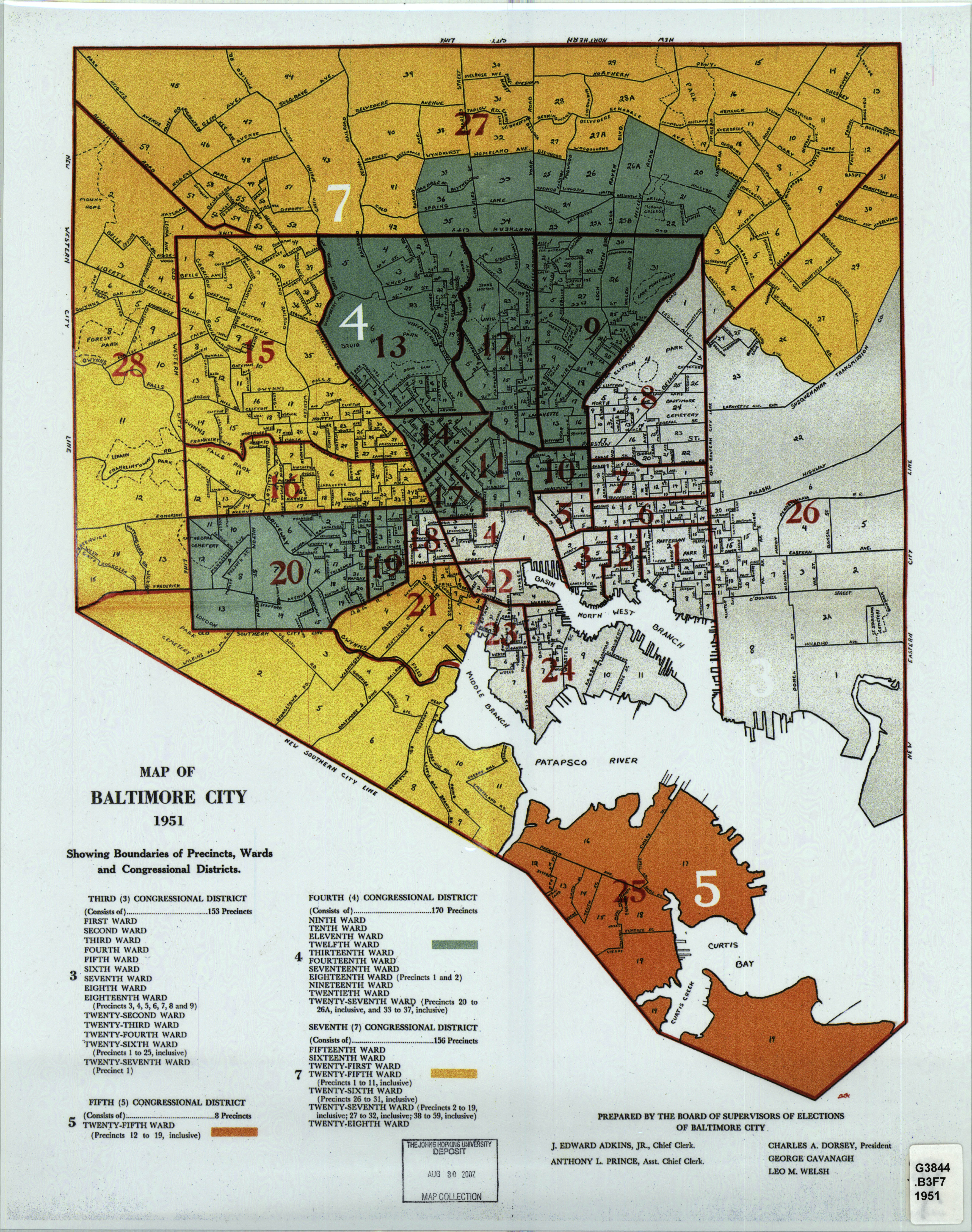 Map Of Baltimore City 1951 Showing Boundaries Of