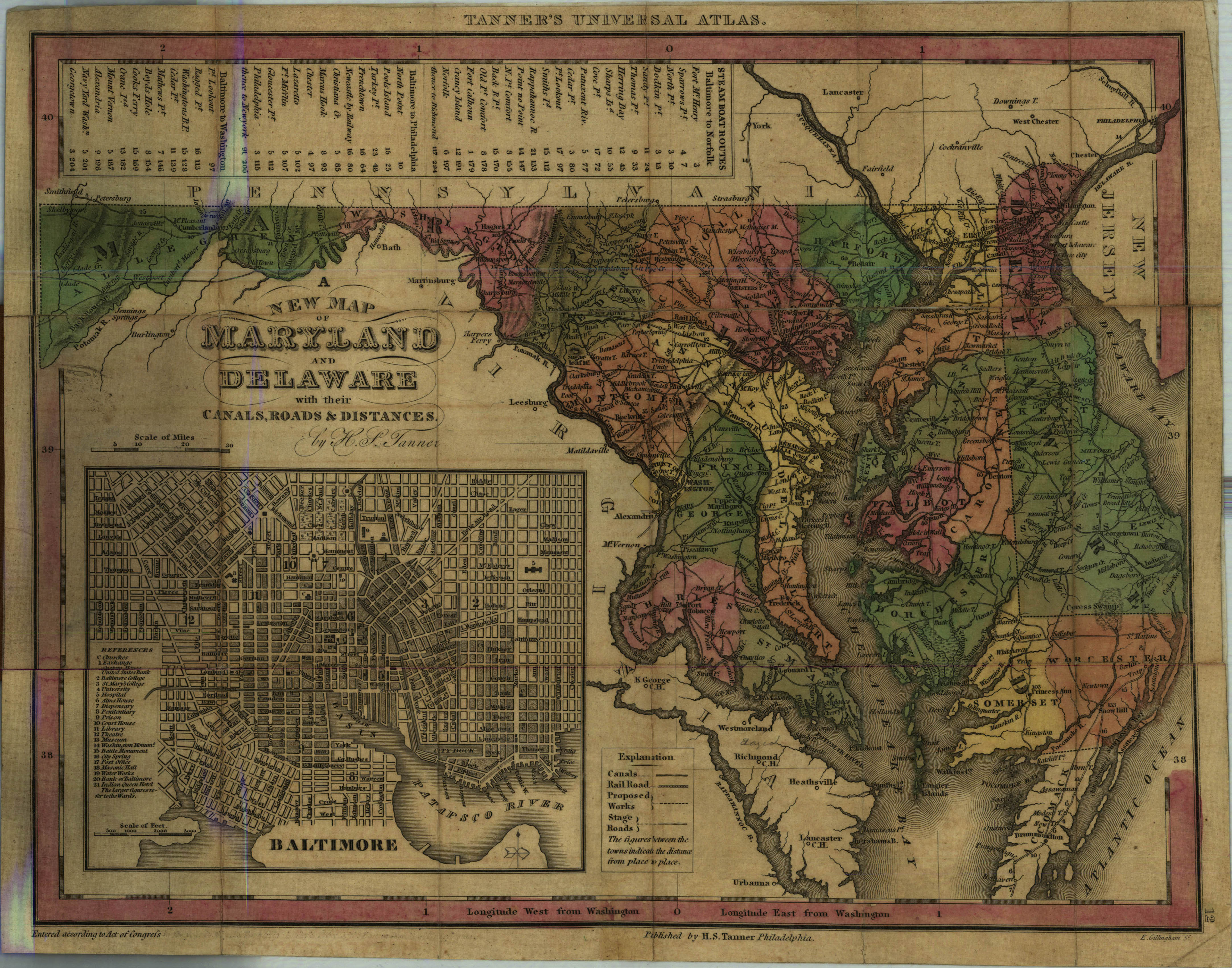 A New Map of Maryland and Delaware: with their canals, roads & distances