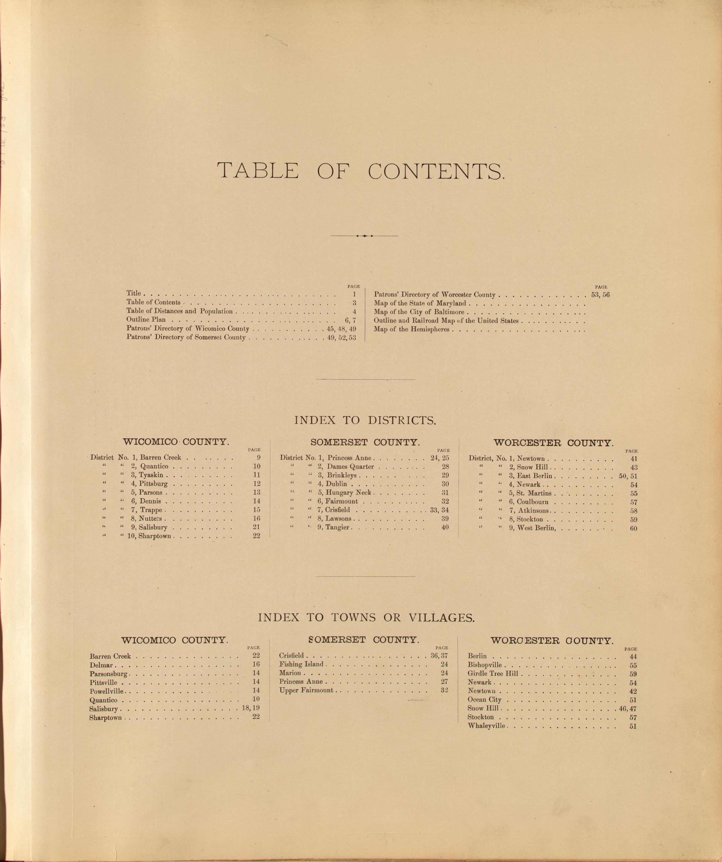WICOMOCO, SOMERSET & WORCESTER COS ] Atlas of Wicomico