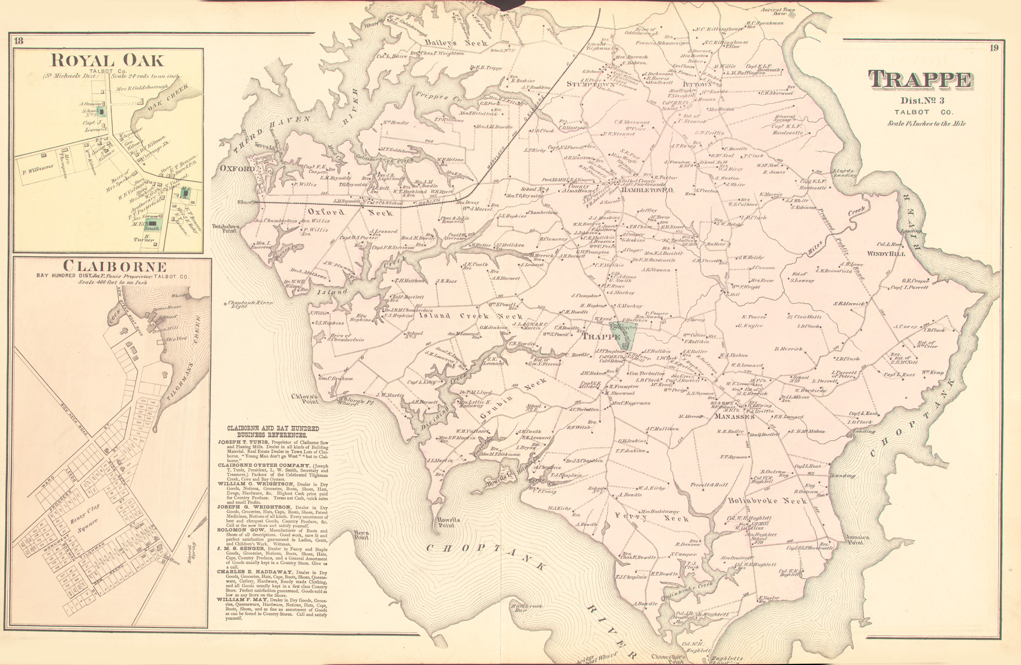 Talbot dorchester counties an illustrated atlas of talbot p18 19 trappe royal oak and claiborneg 2517mb gumiabroncs Choice Image