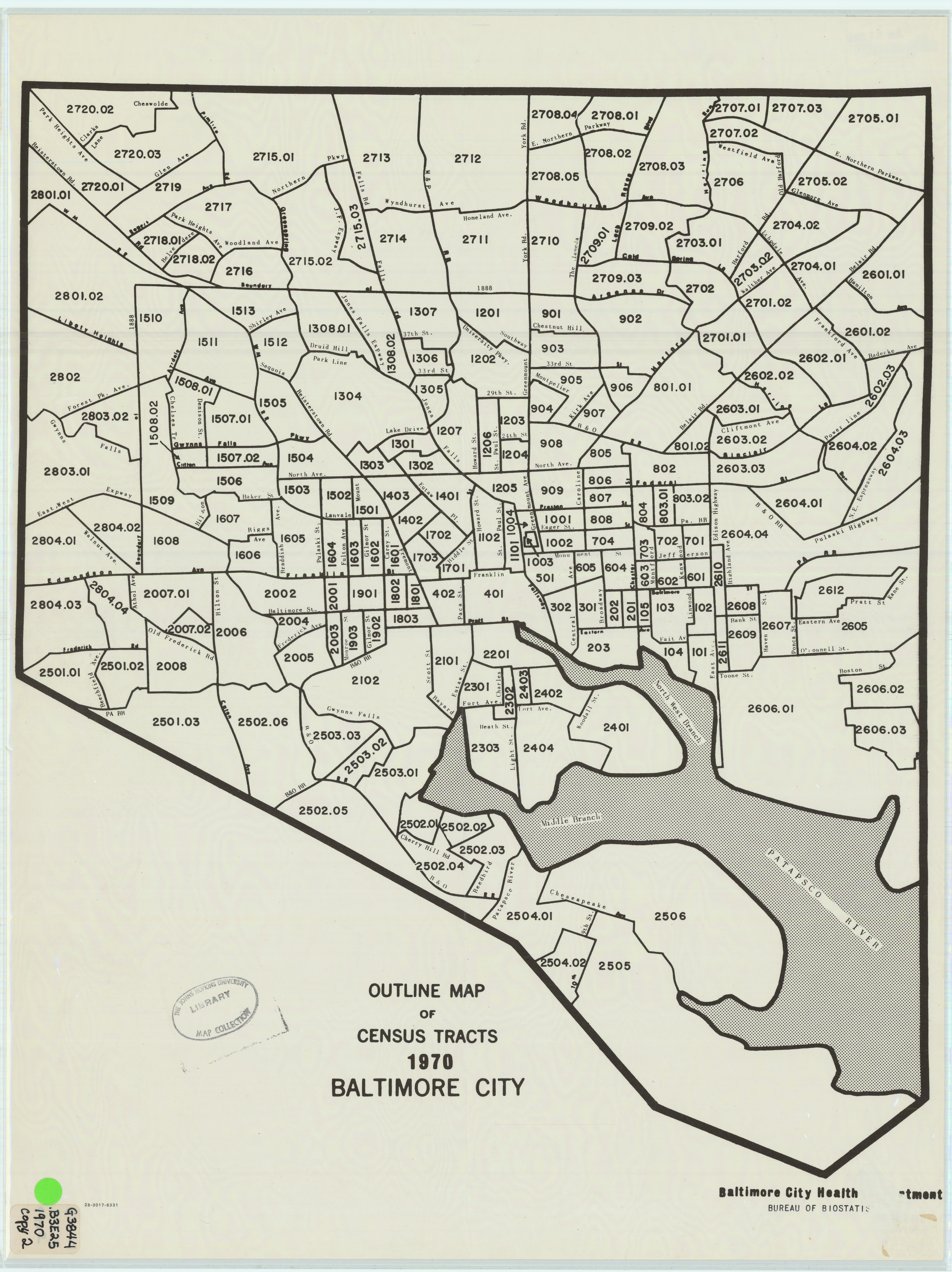Baltimore City Map Outline Map of Census Tracts 1970 Baltimore City Baltimore City Map