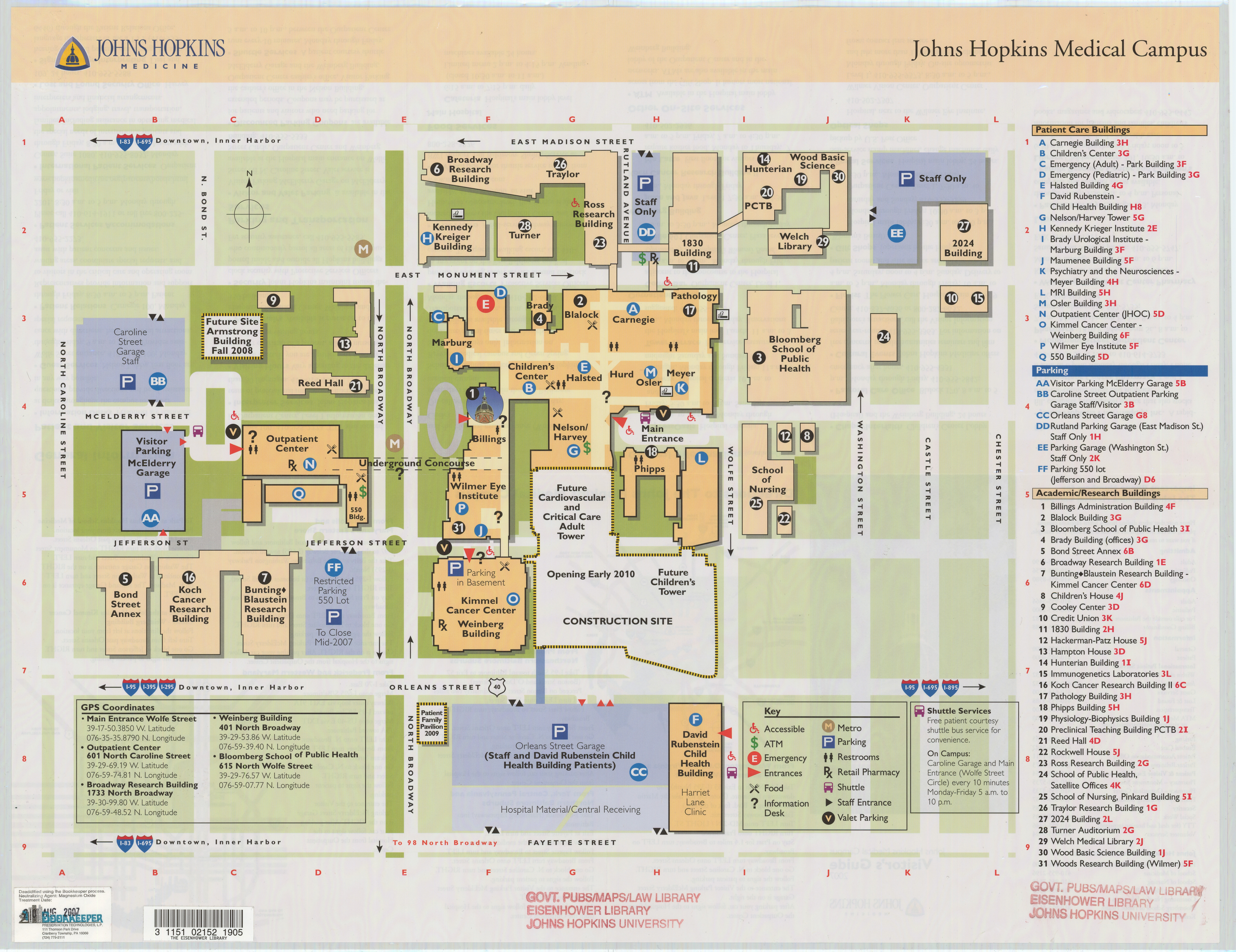 Hopkins Medical Campus Map.Johns Hopkins Medical Campus Visitor S Guide 2007