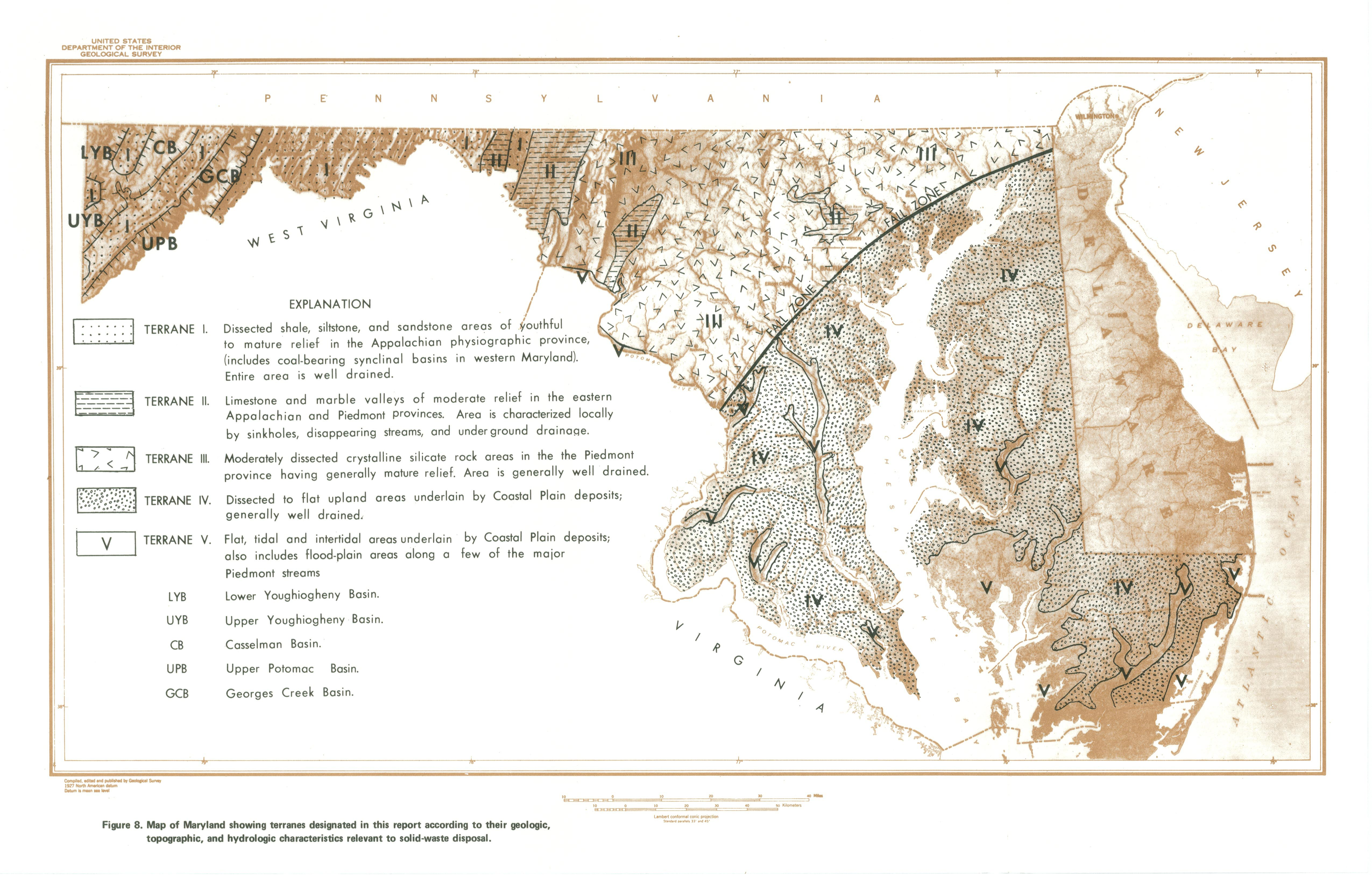 Map of Maryland Showing Terranes Designated in this Report According ...