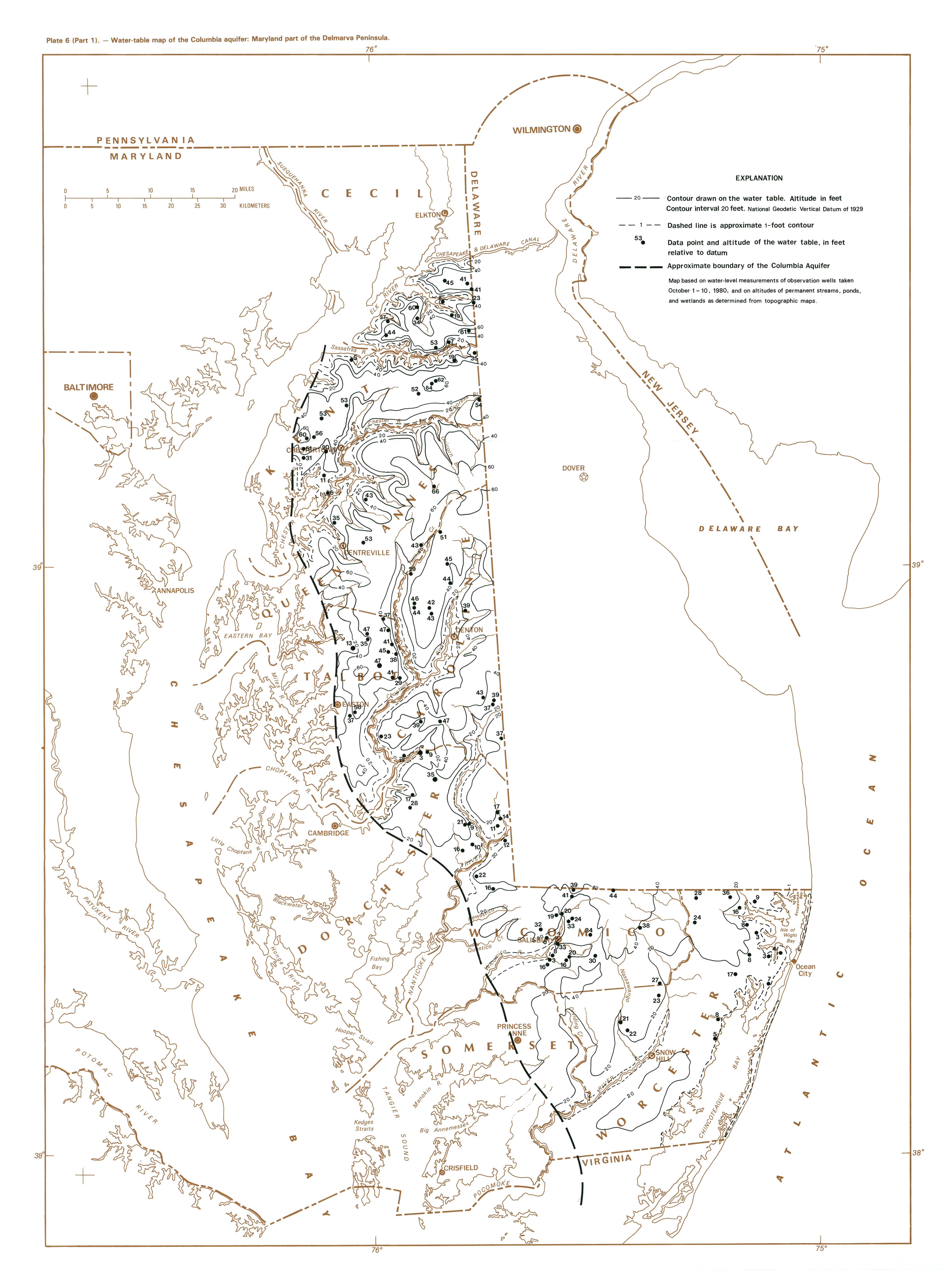 Water Table Map Of The Columbia Aquifer Maryland Part Of
