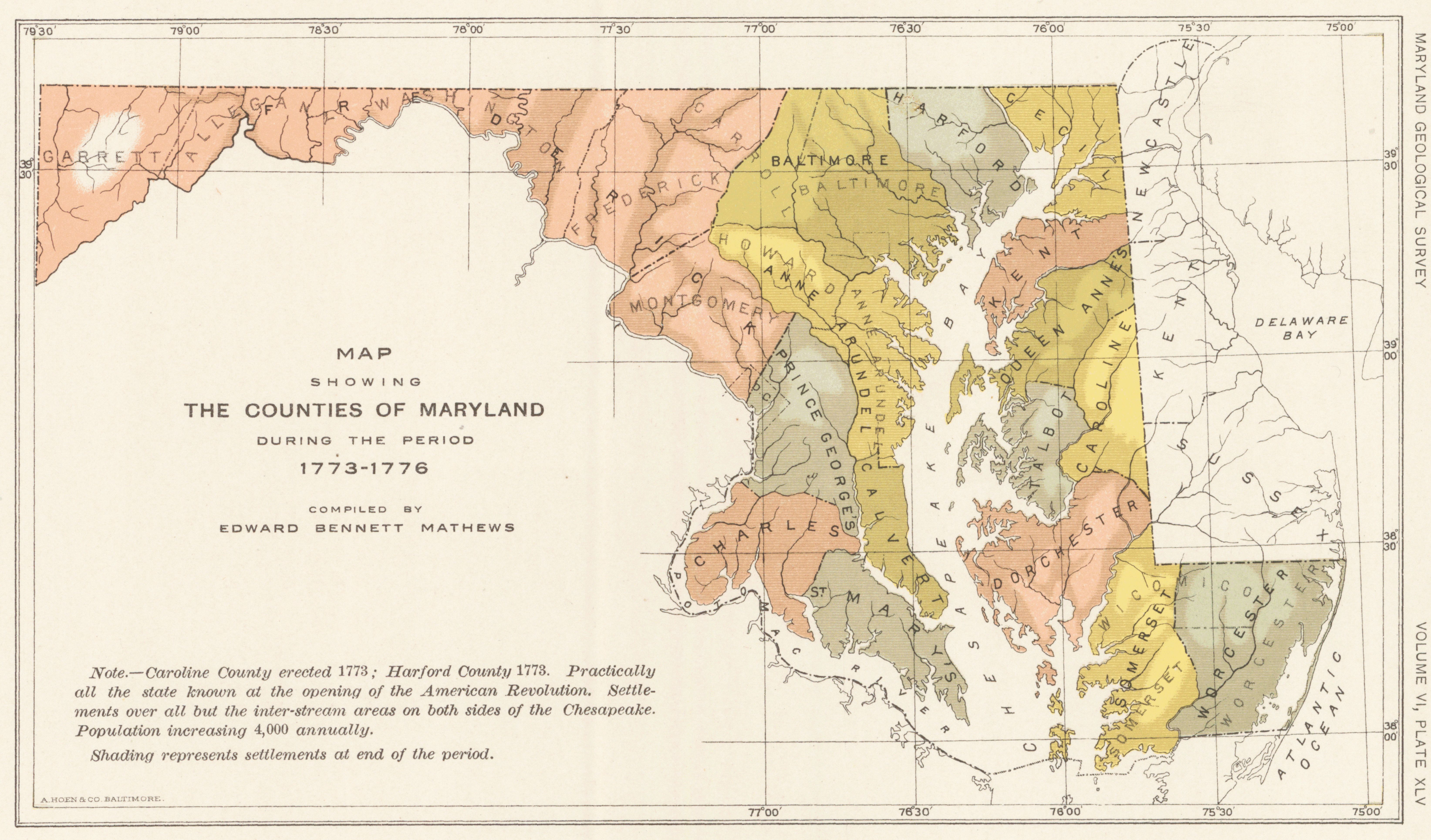 Map Showing The Counties Of Maryland During The Period - Maryland map