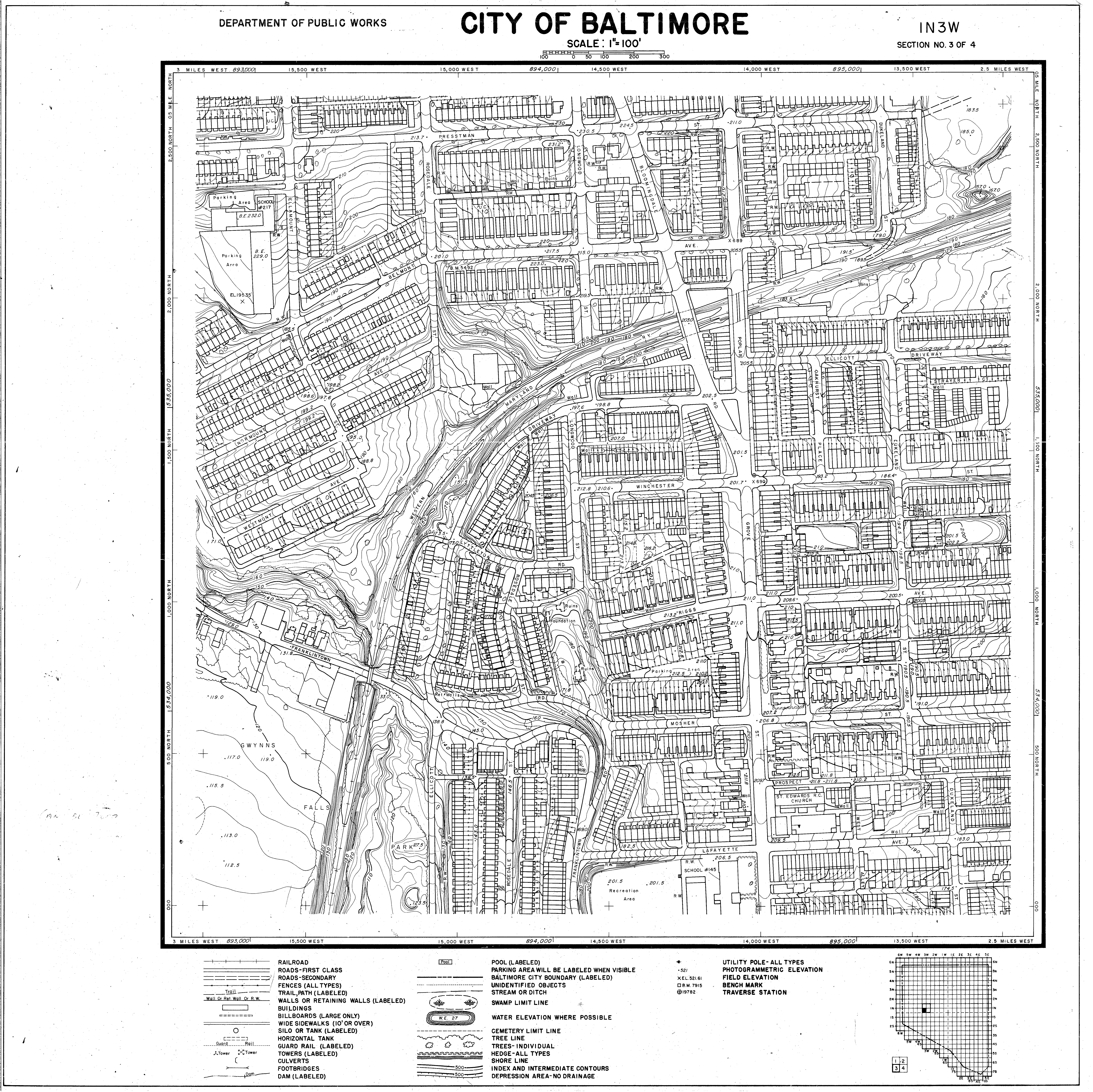 Baltimore City] City of Baltimore One Hundred Foot Topographic ...